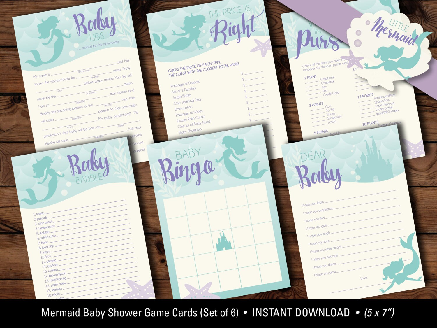 Mermaid Baby Shower Game Cards, Mermaid Baby Shower Games, Mermaid  Printables, Baby Bingo, Baby Babble, Dear Baby, INSTANT DOWNLOAD, DIGITAL