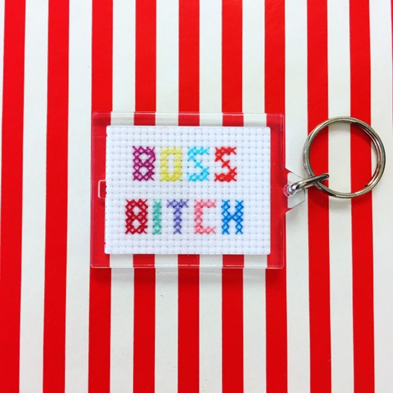 Custom keyring blank for any message  hand stitched image 0