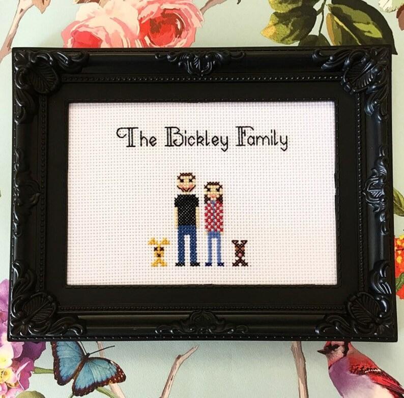 Framed & finished custom family portrait cross stitch bitch image 0