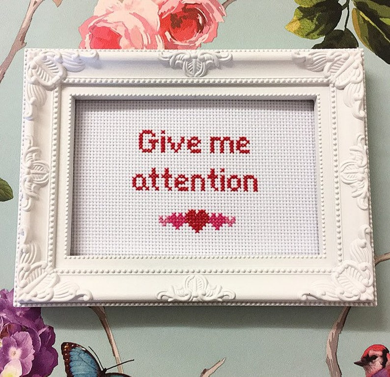 Give me attention  funny snarky rude needlepoint embroidery image 0