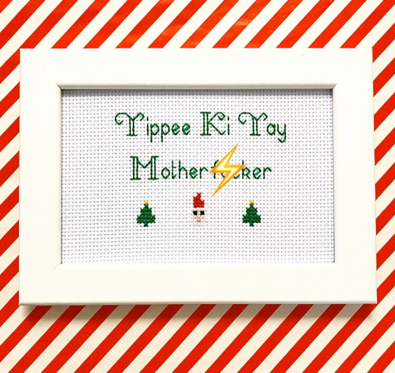 MATURE  framed and finished Die Hard cross stitch bitch rude image 0