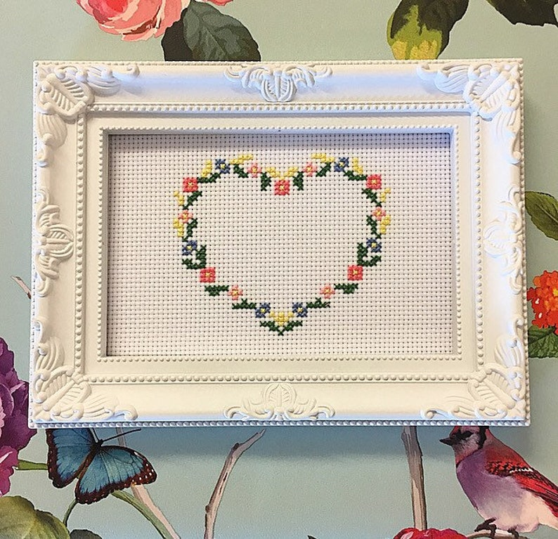 Framed & finished cross stitch bitch fill the heart with a image 0