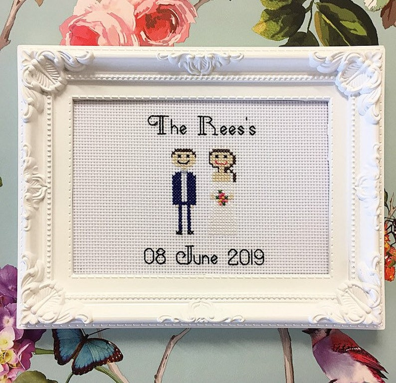Framed finished bride and groom anniversary cross stitch image 0