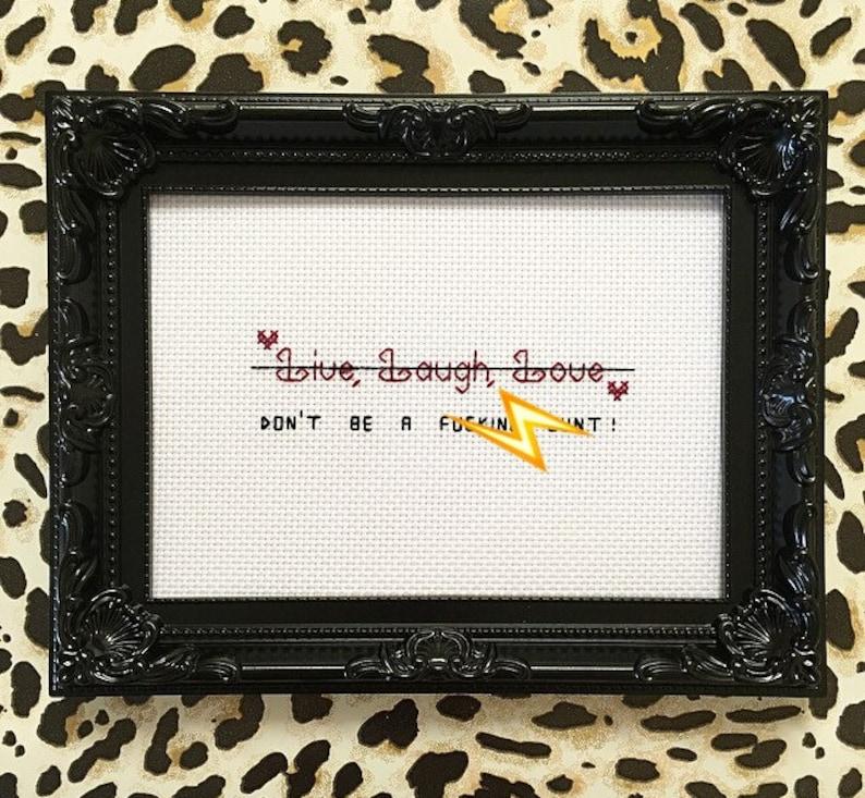 MATURE ornate framed finished live laugh love cross stitch image 0