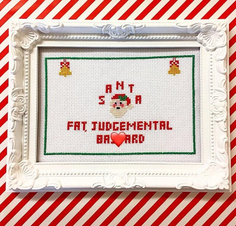 MATURE framed & finished funny christmas cross stitch bitch image 0