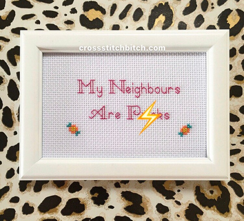 MATURE  My Neighbours   framed  finished cross stitch bitch image 0