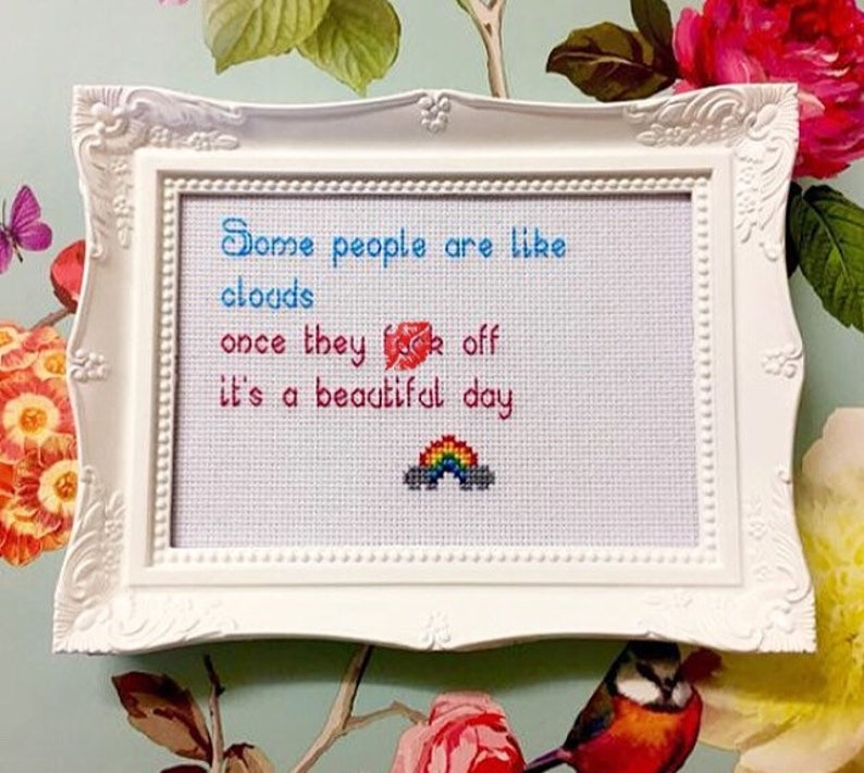 MATURE framed & finished funny rude subversive cross stitch image 0