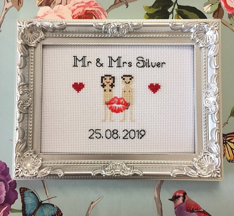 205c19bf3a48b MATURE naked bride & groom framed finished custom cross stitch bitch, funny  wedding gift novelty, personalised embroidery,
