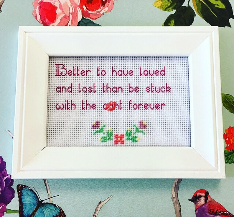MATURE framed & finished completed cross stitch bitch snarky image 0