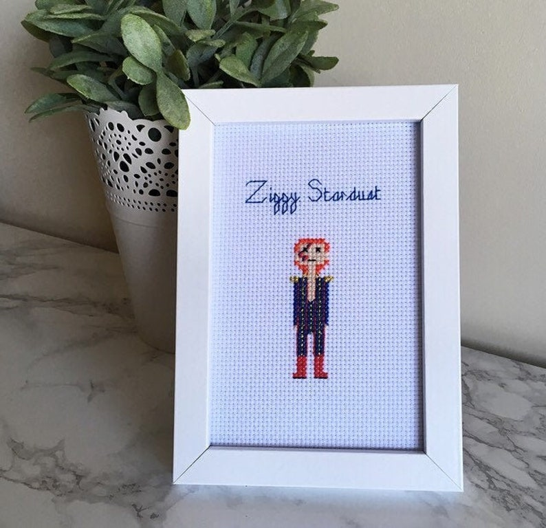Pop Star People Cross Stitch Ziggy Stardust Needlepoint image 0