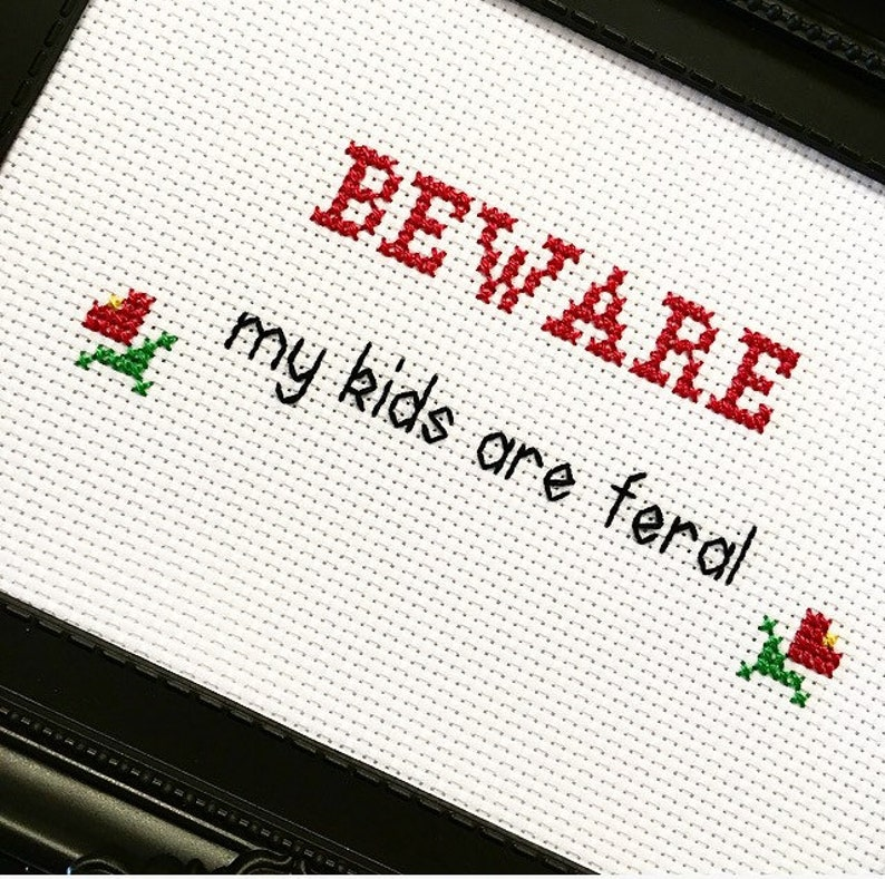 BEWARE framed & finished complete cross stitch bitch image 0