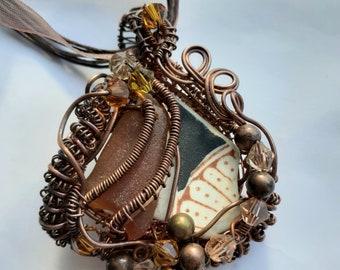 Seaglass, sea pottery and copper pendant