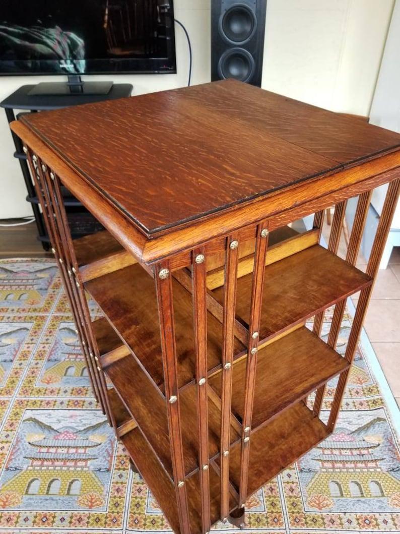 Restored Revolving Antique Vintage Mission Style Quarter Oak Bookcase