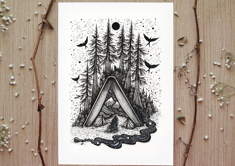 Camping Tent Book limited edition print  Pen drawing Moon image 0