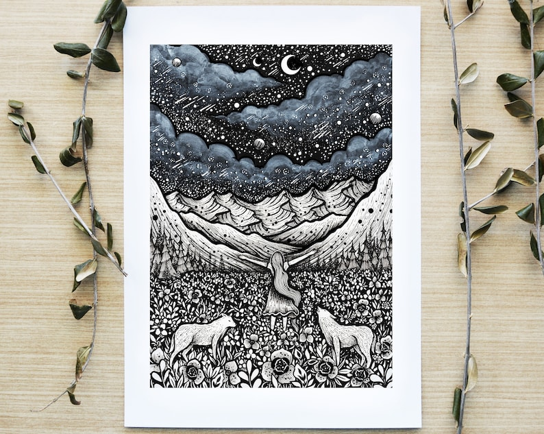 Embrace of Life  Pen drawing Moon Night Nature Landscape image 0