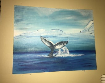 Whale Tail on Canvas Board 14 x 11