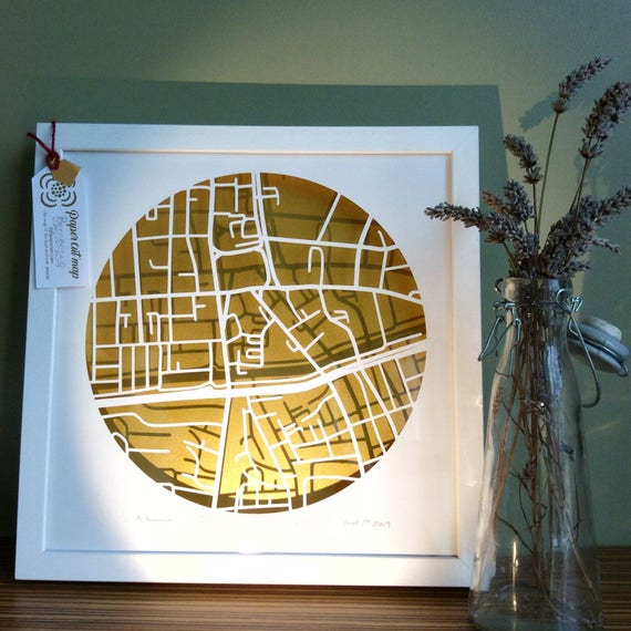 Portobello Dublin Ireland Papercut Map Irish Handmade Gift Etsy