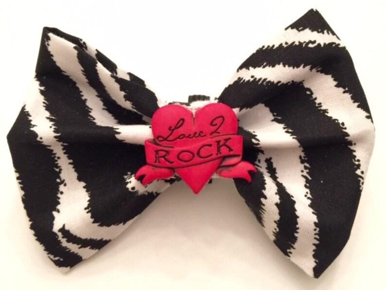 d6fedd4533b0 Zebra Pawty Bow or Bow Tie | Etsy