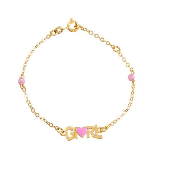 baby bracelet,K9 gold,girl bracelet,bear bracelet,gold bracelet,baby jewelry,evil eye protection,newborn girl,Baptism gift,baby shower gift