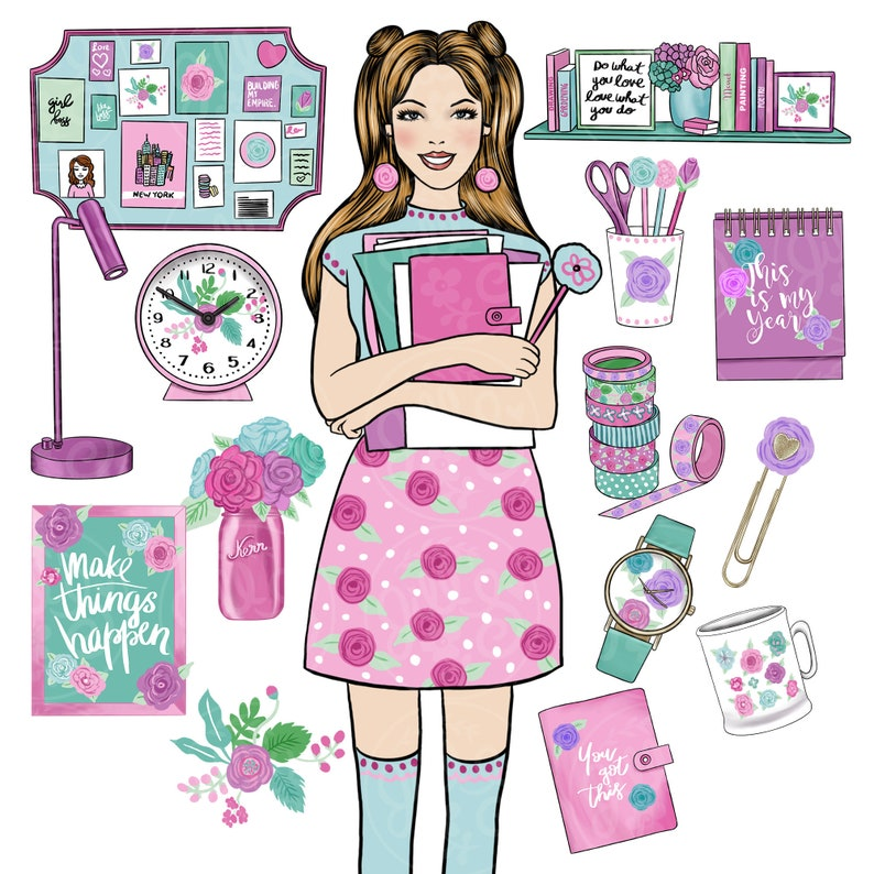 Fashion Girl Clipart Spring Clipart Planner Clipart Planner Clip Art Planner Girl Clipart