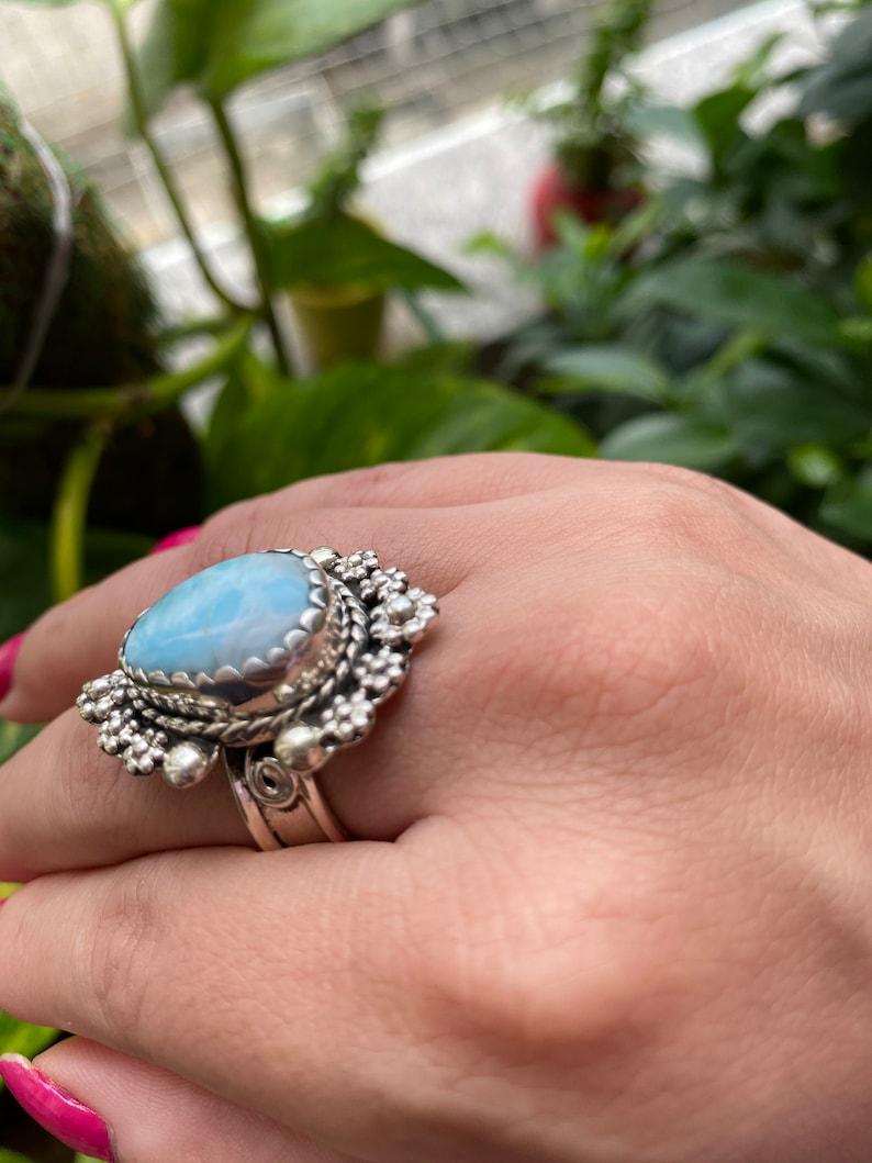 Lovely larimar ring boho ring hippie girl gypsy style amethyst ring stunner 925 sterling silver ring statement ring flower ring Larimar ring