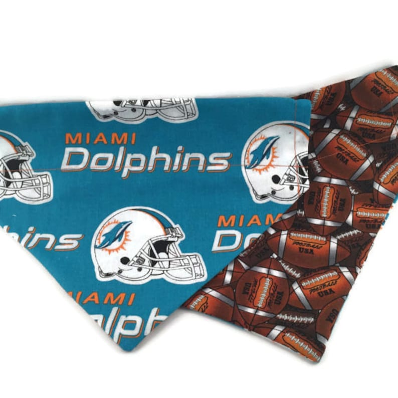 the latest 5b4ef 78fdb Miami Dolphins Over the Collar Dog Bandana // Dolphins Reversible Dog  Bandanna // Miami Dog Scarf // Miami Dolphins Dog Gift // Dolphins Fan