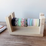 Wooden washitapes organizer, Minimalist style washi dispenser, Storage of Japanese tapes