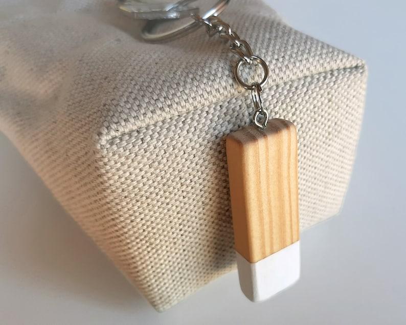 Customized wood keychain in Scandinavian design and minimalist image 0