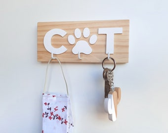 Mask hanger for wall. Wooden key holder for cat lovers. Nordic style entryway key organizer. Minimalist cat mom home decor