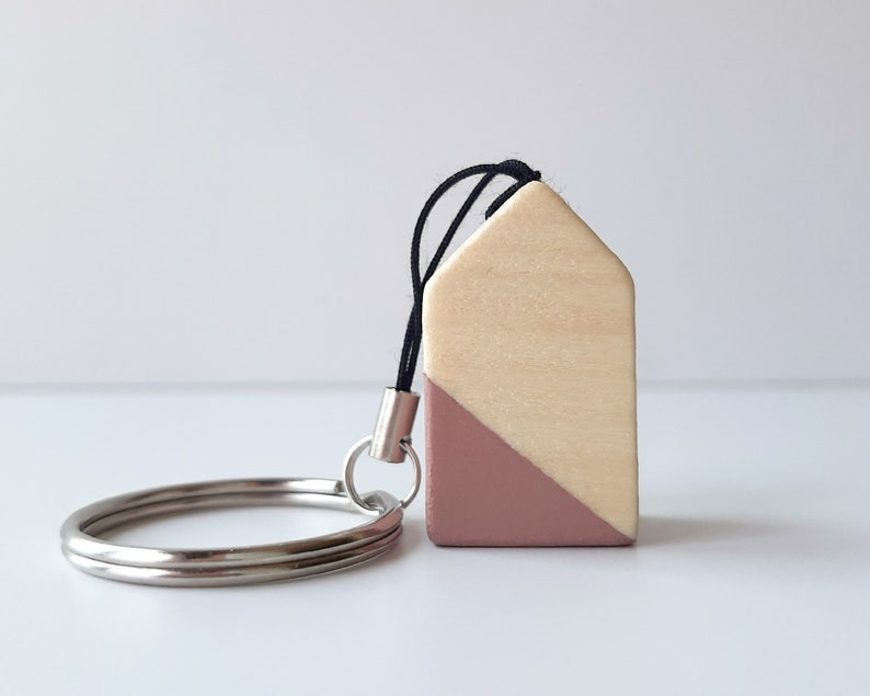 Scandinavian design keyring with tiny wooden house Nordic image 0