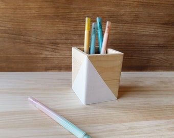 White wooden pen stand, Minimalist makeup brush holder, Scandinavian desk organizer