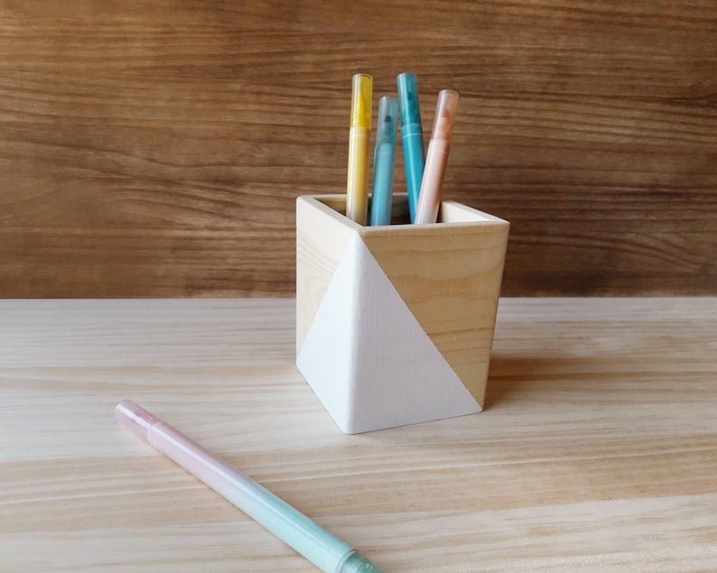 White wooden pen stand Minimalist makeup brush holder image 0