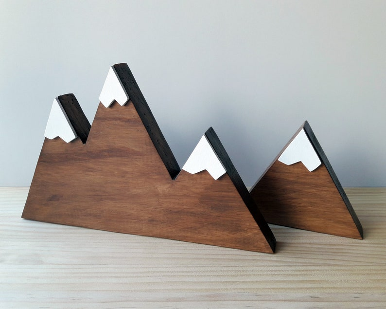 Set of two wooden mountains in Nordic style Minimalist and image 0