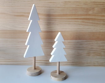 Set of two wooden trees perfect for decorating a children's bedroom or a nordic style, minimalist living room. Great for Christmas