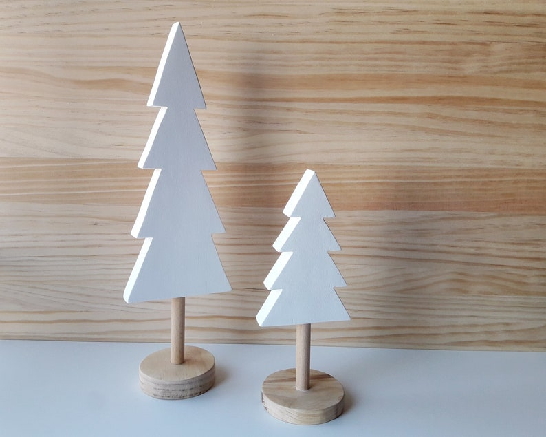 Set of two white wooden christmas tree Scandinavian home image 0