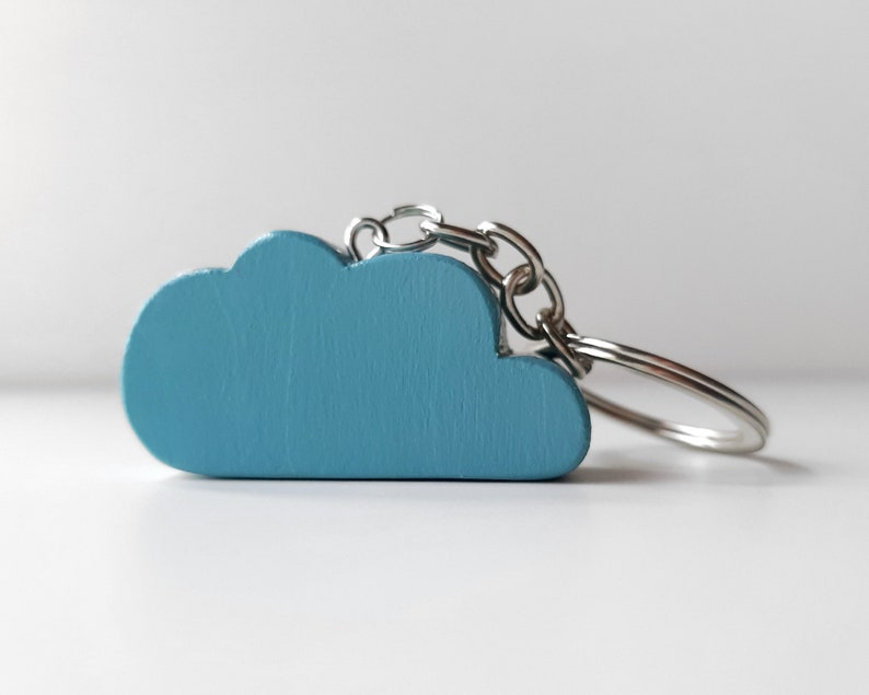Minimalist wooden cloud keyring Nordic style sister birthday image 0