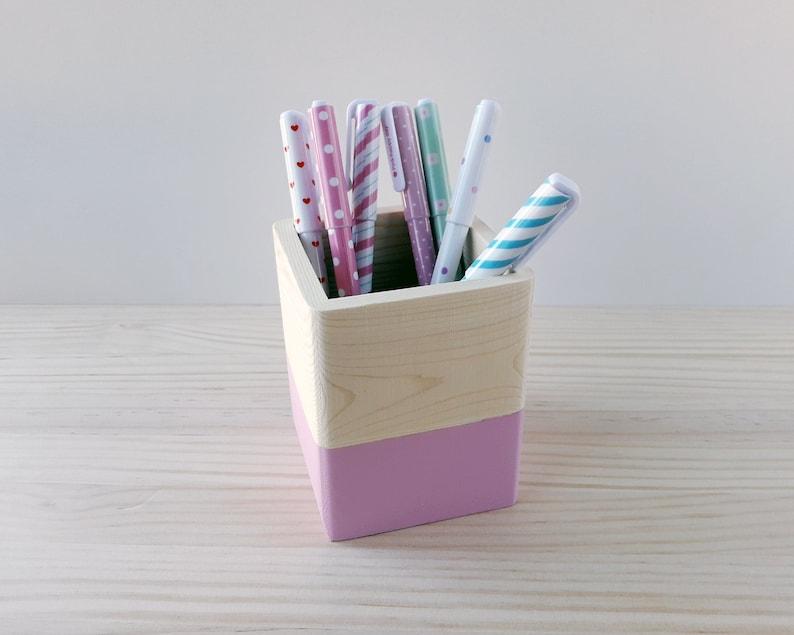 Pink wooden pen holder Gift pencil holder for teachers Desk image 0