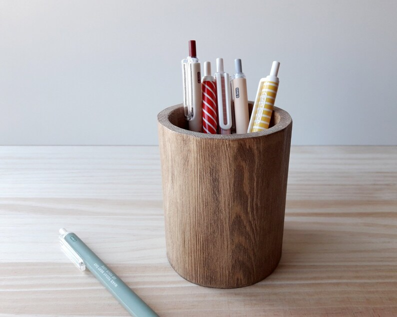 Wooden makeup pencil holder Modern pen stand Minimalist desk image 0