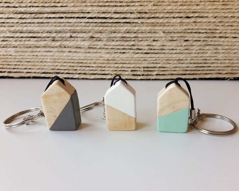 Wooden casita-shaped keychain Handmade wooden house Original image 0