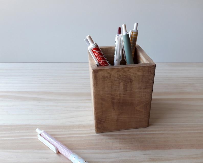 Wooden pencil case Nordic makeup brush pot Modern desk image 0