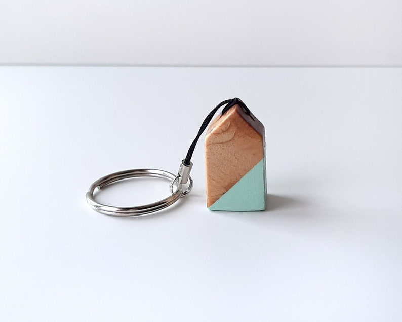 Nordic style keychain with wooden house Scandinavian style image 0
