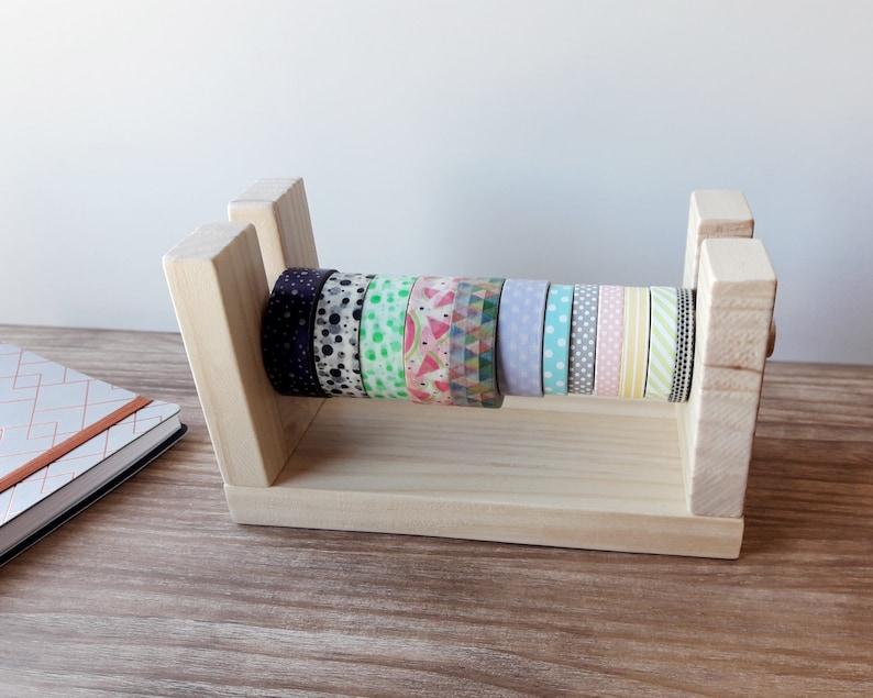 Wooden washitapes organizer Minimalist style washi dispenser image 0