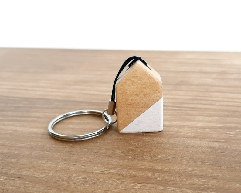 Keychain with Nordic style wooden house Unique and minimalist image 0
