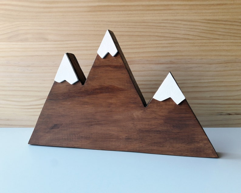 Minimalist wooden mountain Natural hygge home decor Nordic image 0