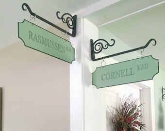 Green Personalized Street Signs, Farmhouse Decor, Farmstyle Sign, Vintage, Distressed **Bracket NOT included