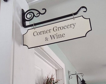 Corner Grocery and Wine/Grocery Sign/Personalized Street Signs/Vintage/Distressed/Farmhouse Decor **Bracket NOT included