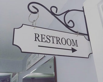 Bathroom Street Sign, Restroom Sign with Arrow, Farmhouse Street Sign, Bathroom Sign, Farmhouse Decor **Bracket NOT included