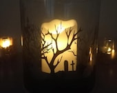 Halloween Candle Holder, Silhouette Halloween Scene, Spooky Candle Scene, Candle Holder, Hurricane, Haunted House, Cemetery