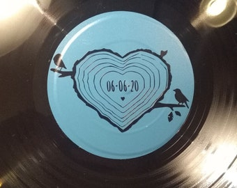 Wedding Guest Book Idea, Custom Record Guest Book Vinyl Record Guest Book, Love Grows, Personalized, Love Tree Rings, Tree Stump