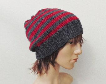 A righe grigie e rosse Mens cappello Beanie di inverno per Beanie Slouch  berretto Boy Slouchy Beanie uomini Stripy s per lui berretto a maglia con  strisce 4c1f878fd366
